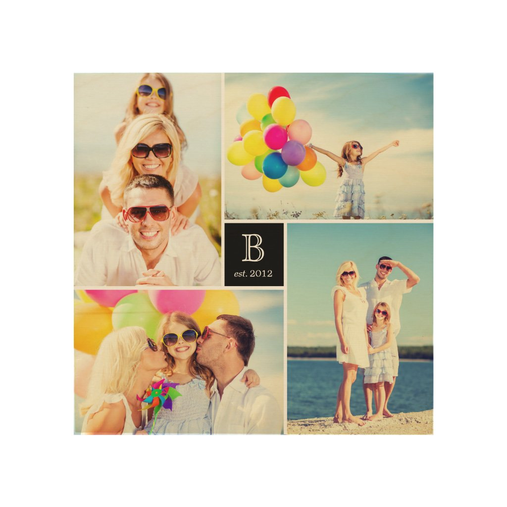 Get A Custom Modern Square Family Monogram Photo Collage Wood Wood Wall Art
