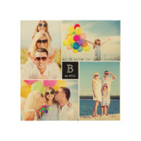 Modern Square Family Monogram Photo Collage Wood Wood Wall Art