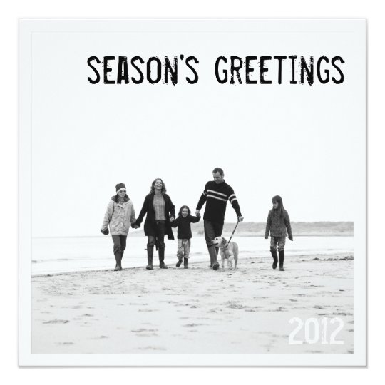 Modern Square Holiday Photo Greeting in B&W Card