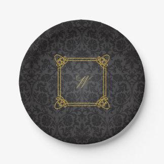 Modern Square Monogram on Black Damask Paper Plate