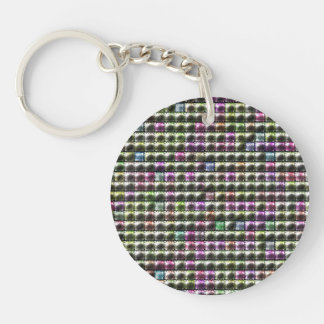 Modern square multicolored pattern keychain