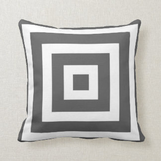 Modern Square Pattern in Charcoal Grey and White Throw Pillows