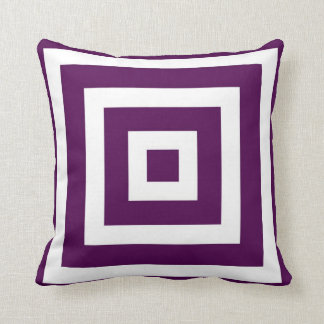 Modern Square Pattern in Plum and White Pillow