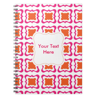 Modern Square Repeat Pattern Hot Pink Orange White Notebook