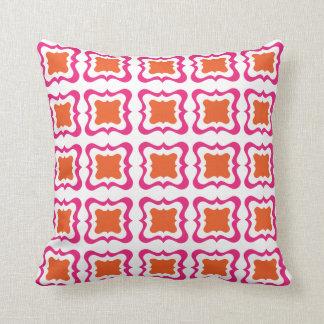 Modern Square Repeat Pattern Hot Pink Orange White Throw Pillow