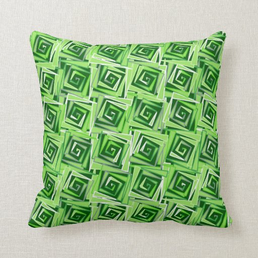 Jade Green Throw Pillow : Modern Square Spirals, Jade Green Throw Pillow Zazzle