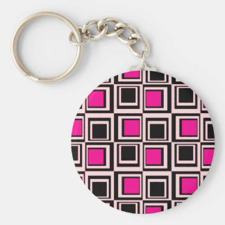 Modern squares, light pink, hot pink and black keychain