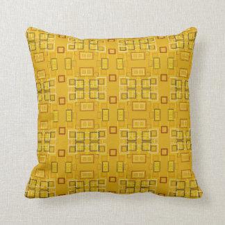 Modern squares mosaic pattern yellow throw pillow