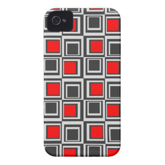 Modern squares, red, grey and black iPhone 4 cover