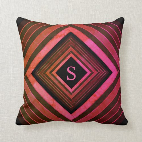 Modern Squares Rustic Pink Geometric Monogram Throw Pillow