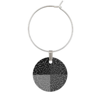 Modern squiggle design with black and grey quarter wine glass charm