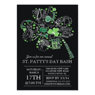 Modern St. Patrick's Day Bash Dinner Party 5x7 Paper Invitation Card