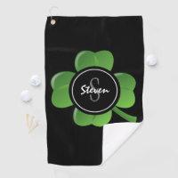 Modern St Patricks Day Lucky Green Shamrock Custom Golf Towel