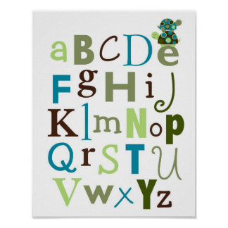 Modern Stacked Turtle Alphabet Nursery Wall Art