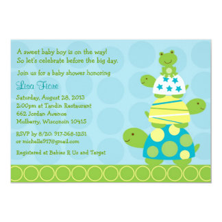 Modern Stacked Turtle Frog Baby Shower Invitations