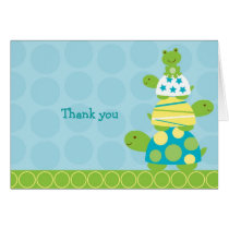 Modern Stacked Turtle Frog Thank You Note Cards