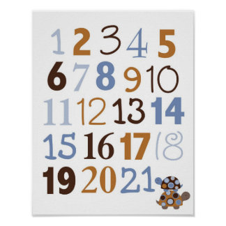 Modern Stacked Turtle Number Nursery Wall Art Poster
