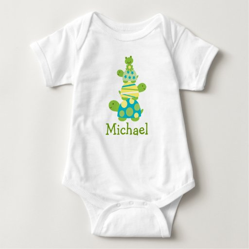 Modern Stacked Turtle Personalized Baby T-Shirt
