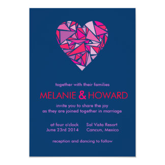 Modern Stained Glass Heart Wedding Invitation