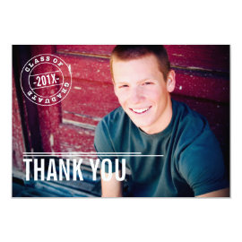Modern Stamp Photo Graduation Thank You Card by kat_parrella at Zazzle