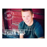 "Modern Stamp Photo Graduation Thank You Card 3.5"" X 5"" Invitation Card"
