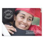 Modern Stamp Photo Graduation Thank You | White 3.5x5 Paper Invitation Card