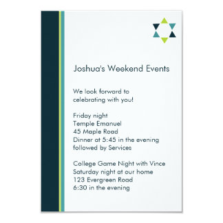 "Modern Star Bar Mitzvah Insert Card 3.5"" X 5"" Invitation Card"