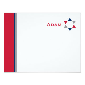 Modern Star Bar Mitzvah Thank You Card
