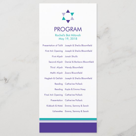 Modern Star Bat Mitzvah Program