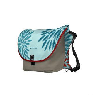 Modern Star Burst Floral Messenger-choose colors Courier Bag