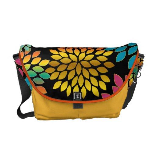 Modern Star Burst Floral Messenger-choose colors Messenger Bag
