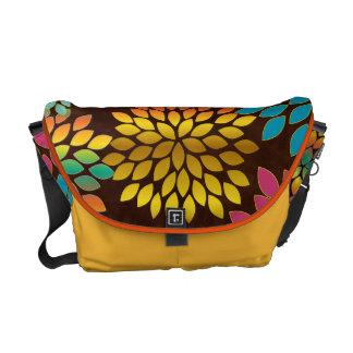 Modern Star Burst Floral Messenger-choose colors Commuter Bag