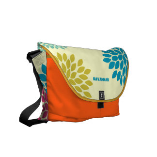 Modern Star Burst Floral Messenger-choose colors Messenger Bags