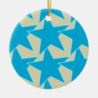 Modern Star Geometric - cerulean blue and tan Ceramic Ornament