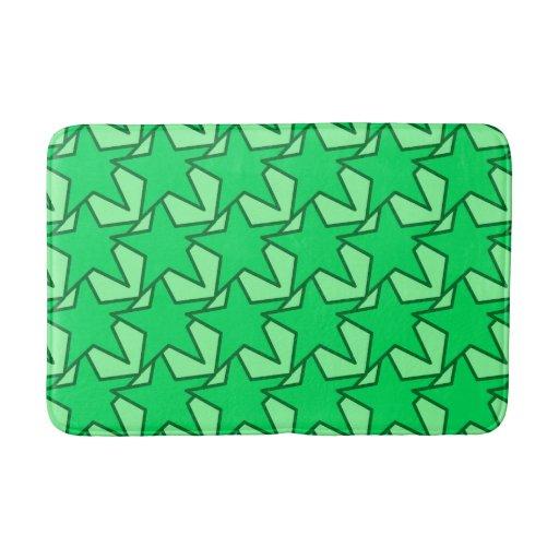 Modern Star Geometric Emerald And Mint Green Bathroom Mat Zazzle