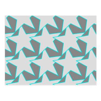 Modern Star Geometric - grey and turquoise Postcard