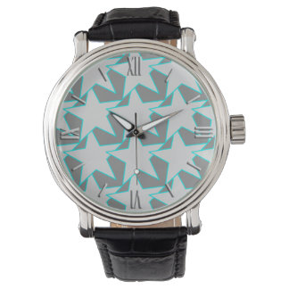 Modern Star Geometric - grey and turquoise Wrist Watches