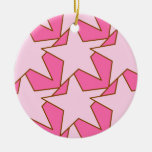 Modern Star Geometric - light and deep pink Ceramic Ornament