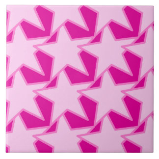 Modern Star Geometric - pale pink and fuchsia Tile