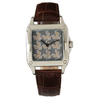 Modern Star Geometric - taupe and grey / gray Wristwatch