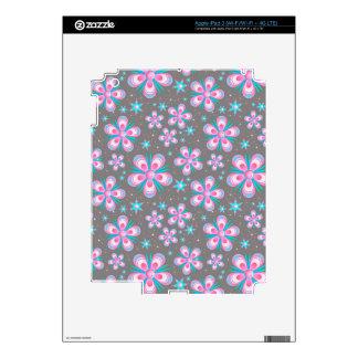 Modern Starburst Floral Print - Pink Gray Skin For iPad 3
