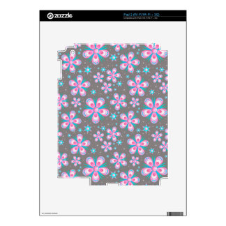 Modern Starburst Floral Print - Pink Gray Skin For The iPad 2