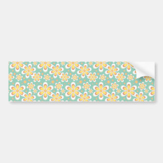 Modern Starburst Floral Print - Yellow and Turquoi Bumper Sticker