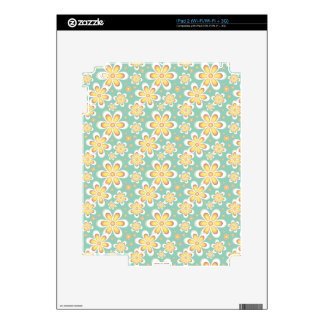 Modern Starburst Floral Print - Yellow and Turquoi Decals For The iPad 2