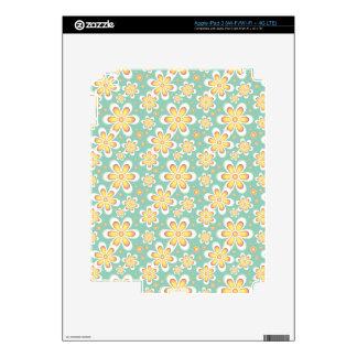 Modern Starburst Floral Print - Yellow and Turquoi iPad 3 Skin