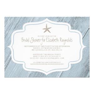 Modern Starfish Beach Bridal Shower Invitations Custom Invite