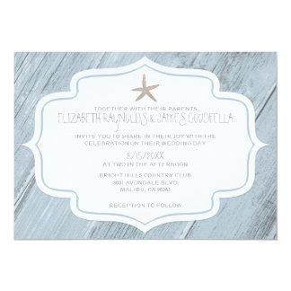 Modern Starfish Beach Wedding Invitations Invitations