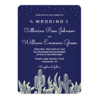 Modern Starry Sky Cactus Navy Wedding Invitation