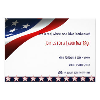 Modern Stars and Stripes Forever Flag Labor Day Personalized Invitations