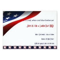 Modern Stars and Stripes Forever Flag Labor Day Invitation